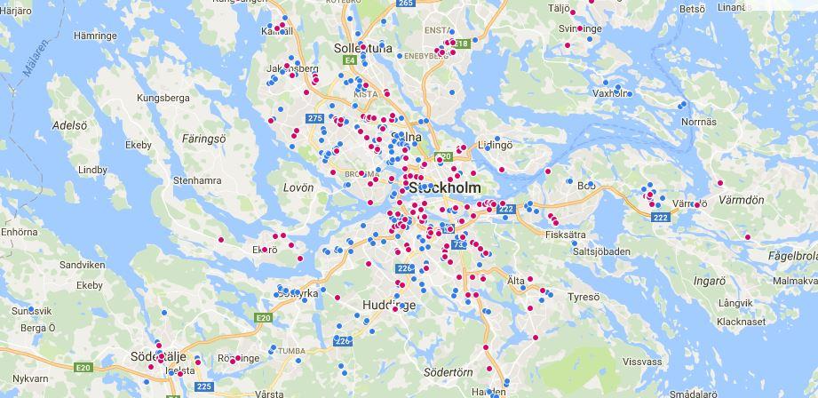 Bostäder till salu i Stockholmsområdet